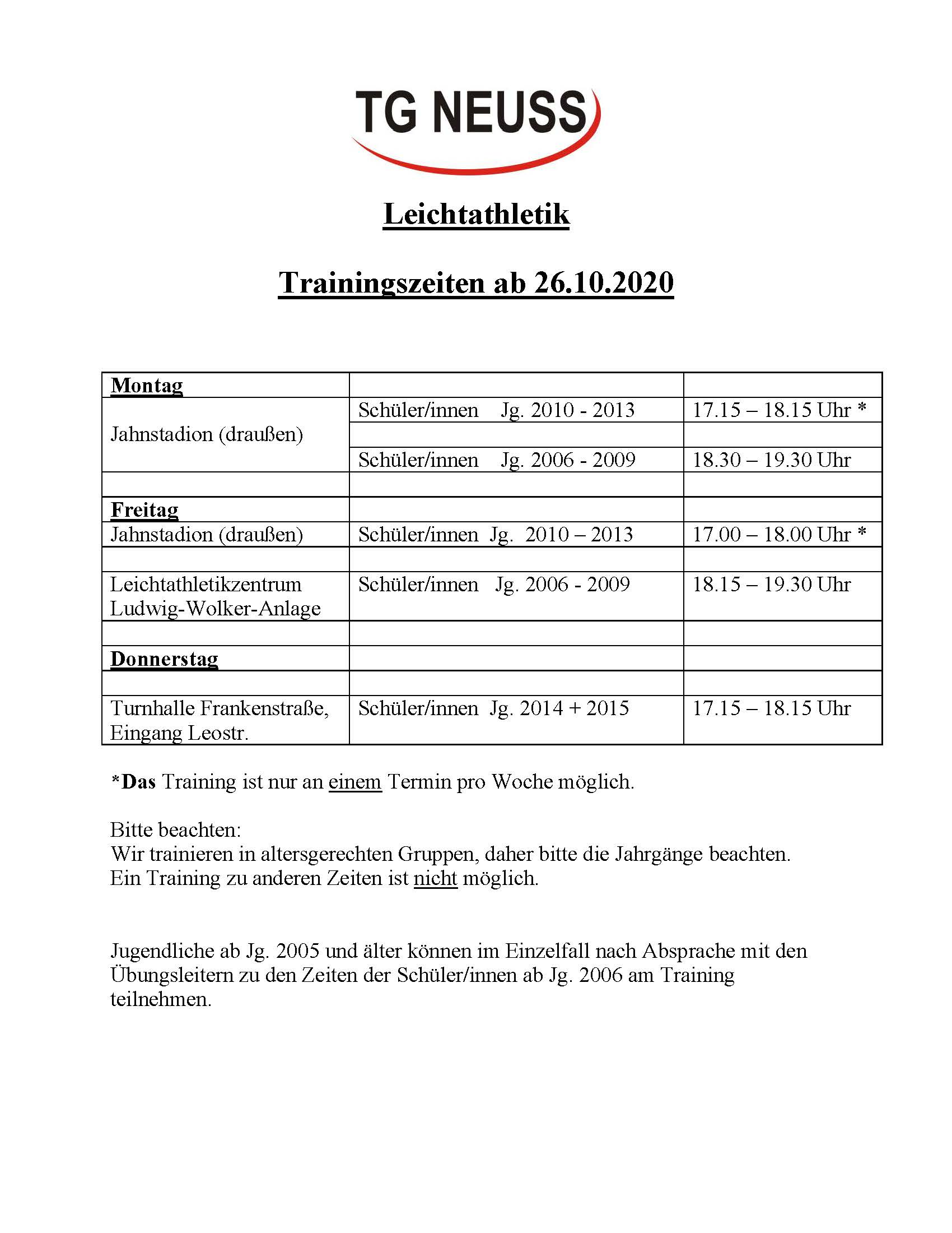 geänderte Trainingszeiten ab dem 26.10.2020