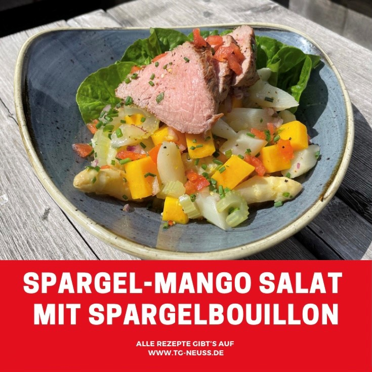 Spargel-Mango Salat mit Spargelbouillon
