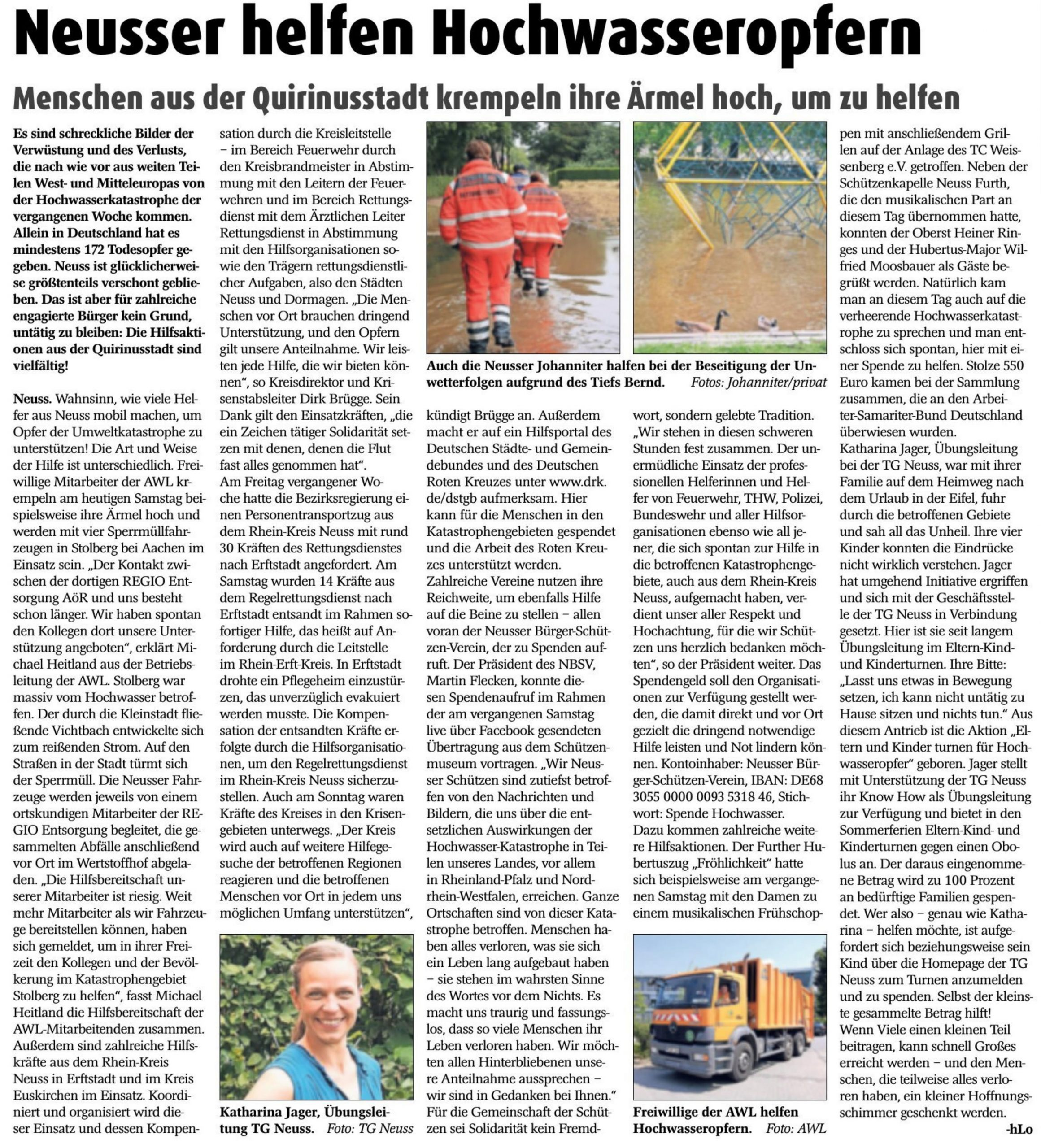 Read more about the article Neusser helfen Hochwasseropfern