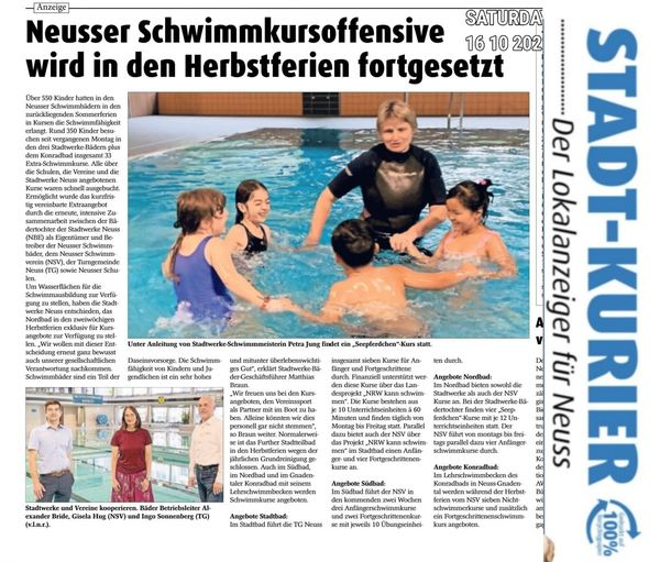 Read more about the article Schwimmkursoffensive in den Herbstferien