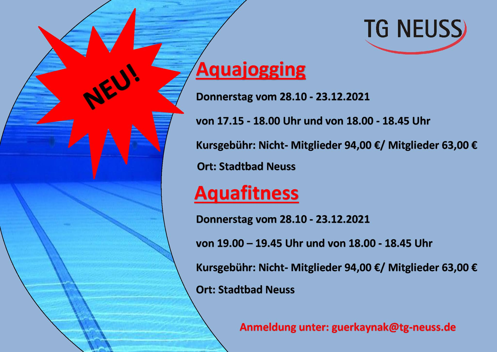 Read more about the article Neue Aquasport-Kurse
